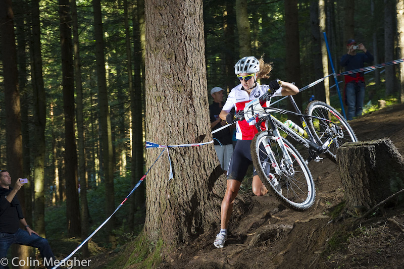 Joland Neff came out swinging in the Women's U23 Race, Conditions were still ridiculously slick--traction was basically non existent in more than one section of track, forcing many riders to run anything remotely steep--up or down.