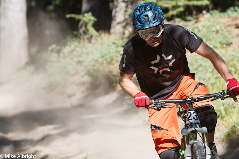 Matt Patterson (Dirt Corps/Trek/Gregg's/Deity/Fox/TLD)  from Snoqualmie, WA concentrates on keeping his wheel's underneath his during the tricky, loose upper portion of stage #1.