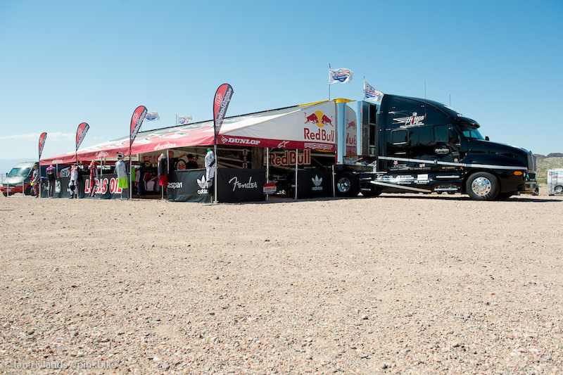 Troy Lee set up with their moto trailer for Dirt Demo, that's a seriously large amount of space in that pit.