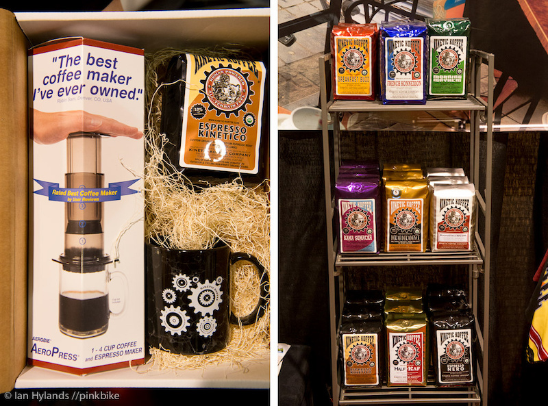 Kinetic Coffee was selling a coffee kit, aeropress, mug, and coffee. Pretty much all you need to get your morning fix, and the same set up I use at home.