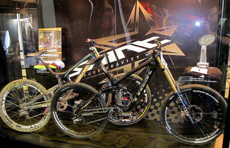 Greg Minnaar and Aaron Gwin's bikes at the SAINT display.