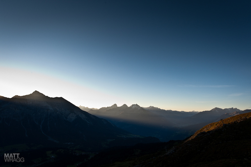 The first sunlight reaches the valley.