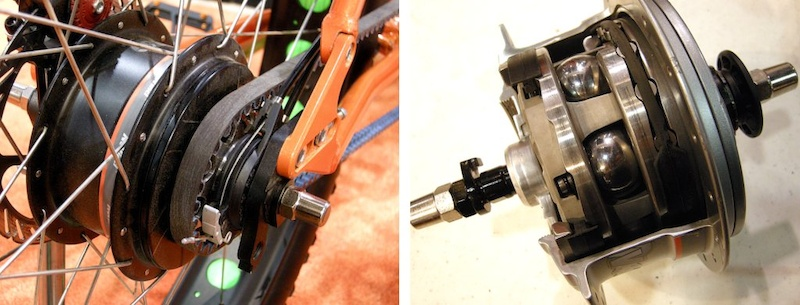 Nuvinci s CVT Constantly Variable Transmission hub was featured on the Calfee Africa bike as well as a this belt-driven 9 Zero 7 big-tire expedition bike. Four steel balls are tilted on their axis to create a variable speed reduction..
