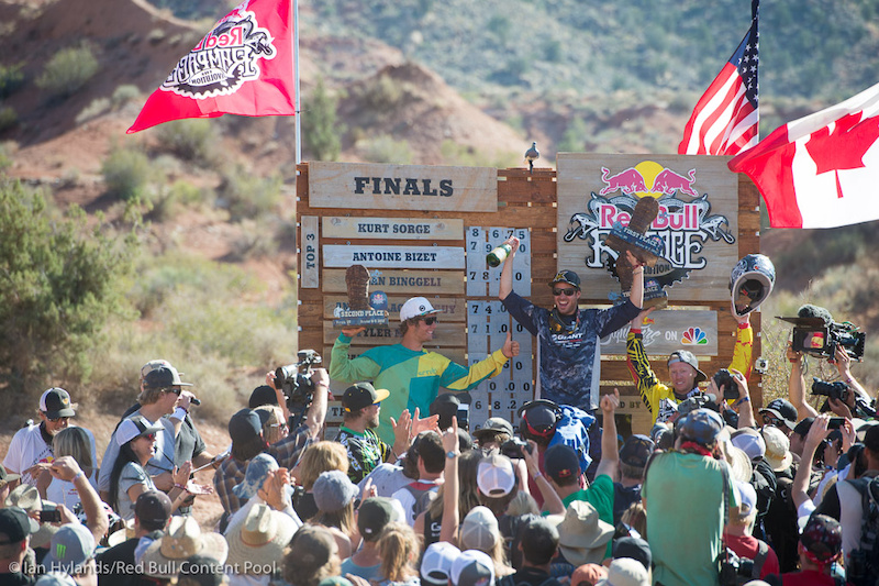 Kurt Sorge celebrates his win at Red Bull Rampage in Virgin, Utah on 7 October, 2012