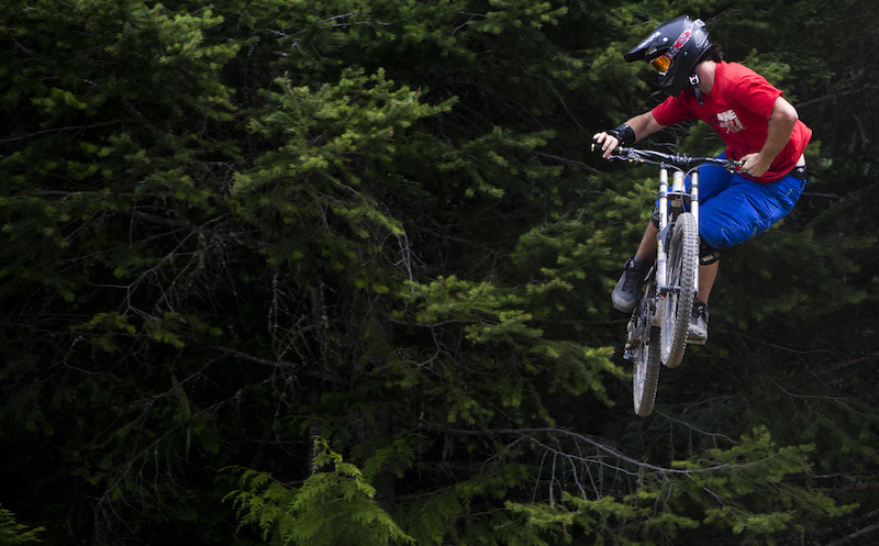 Mountain bike rider Dylan Sherrard is seen riding the Whistler Bike Parkl in Whistler, B.C. Monday, August 13, 2012. THE CANADIAN PRESS/Jonathan Hayward