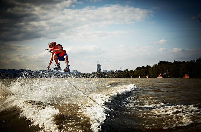 AT trying out some wakeboarding on Vienna s waterways.