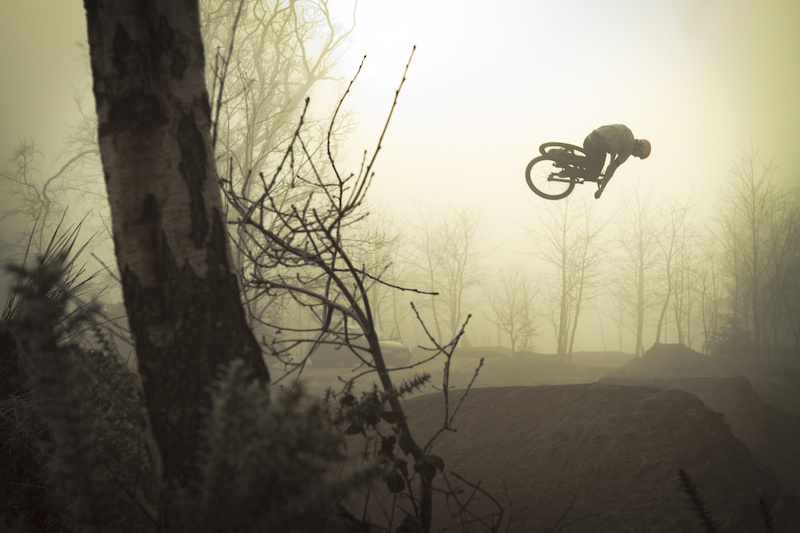 Matt Jones (Saracen Bikes, LKI Clothing) dumped 360 through the fog from a recent filming day.