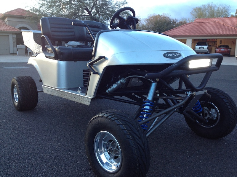 Our custom Yamaha r1 powered  golf cart