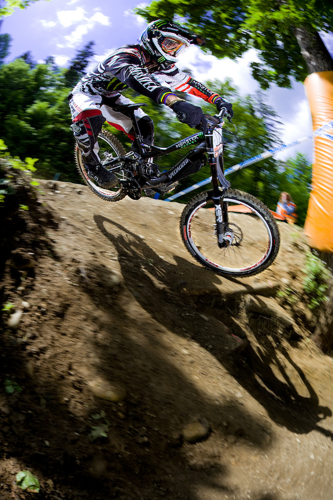 Sam Hill in Maribor hit this turn at high speed and two things are really impressive the perfect style and the calm in his face.