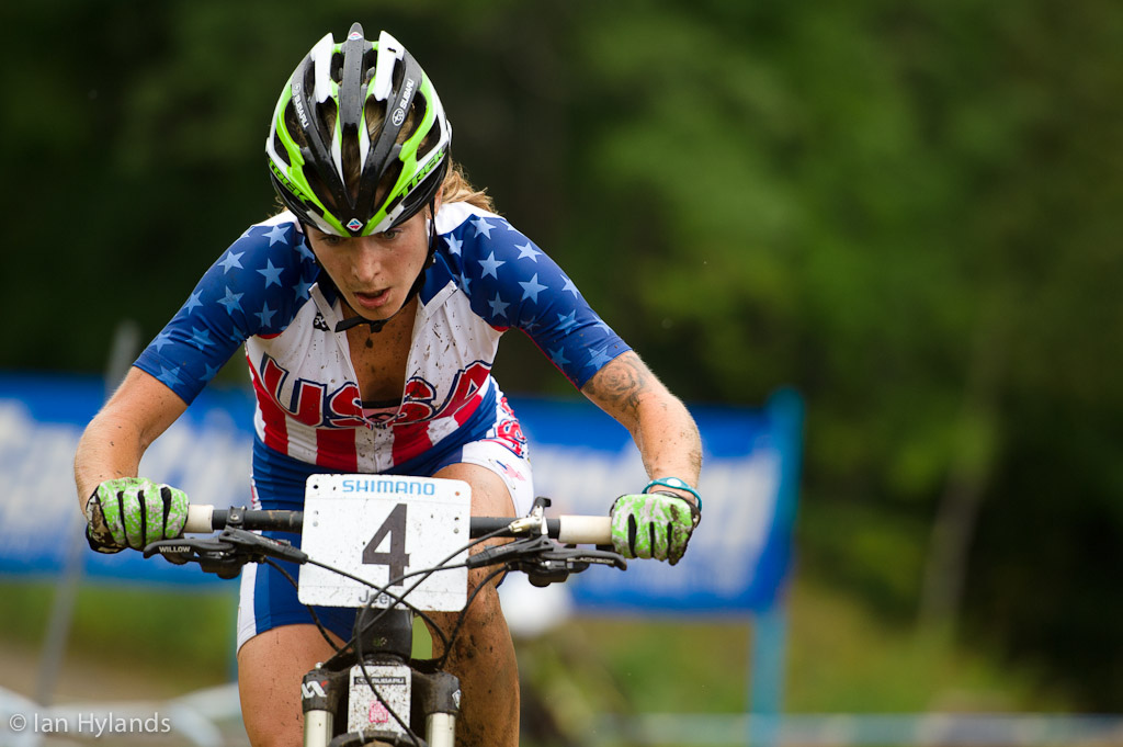 Willow Koerber races the XC at Mountain Bike World Championships at Mt Saint Anne in Quebec. Willow placed 3rd.