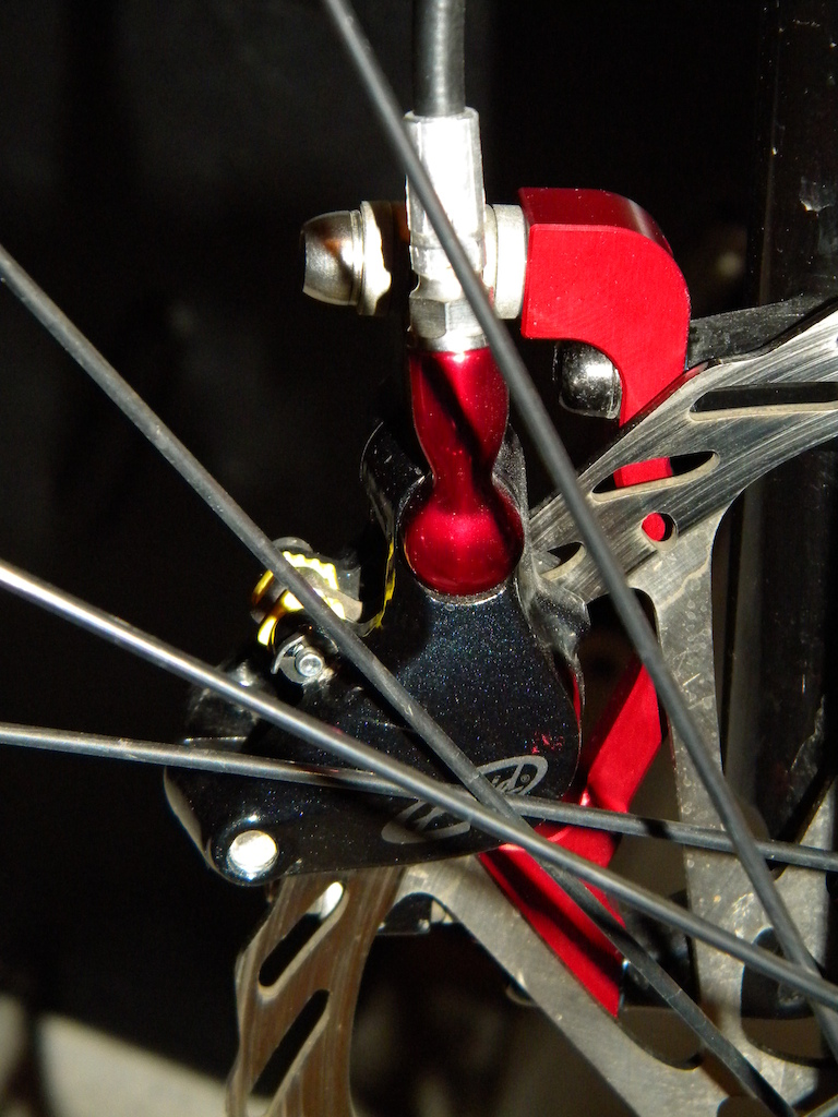 New red anodized NSB brake mount adaptor install on my Stumpy - rear view.
