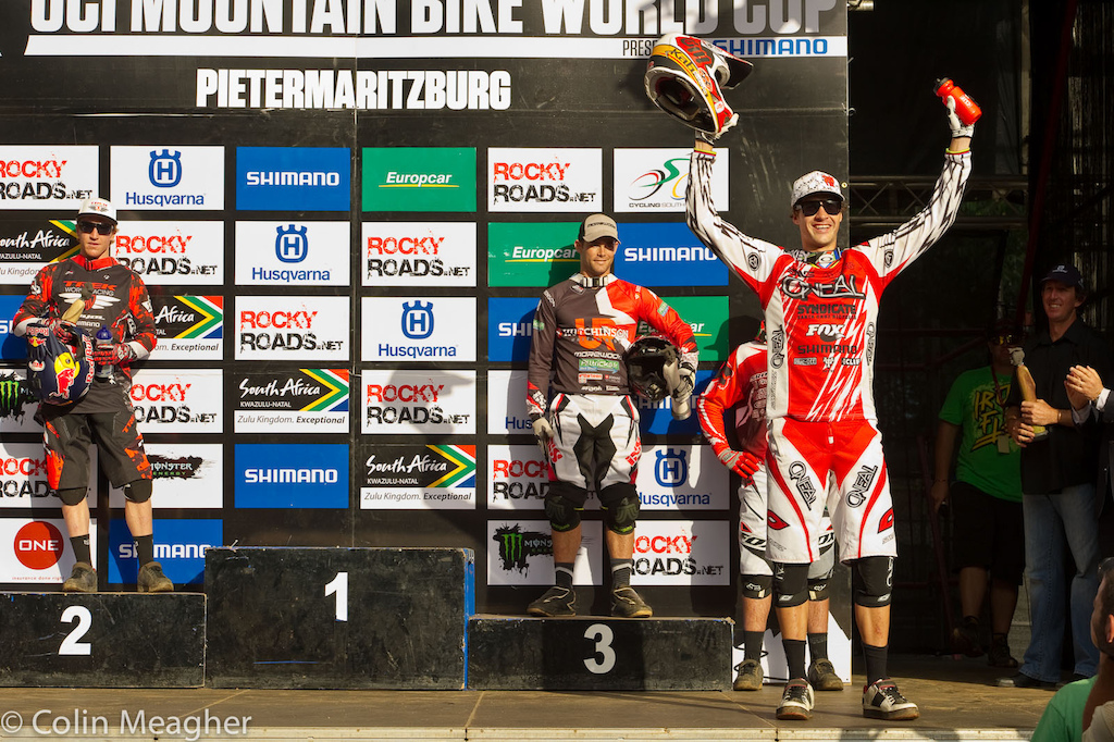 An amazing win for Greg Minnaar at the Pietermaritzburg UCI World Cup DH 2 seconds down at split one 1 second down at split two and then a half second up at the end