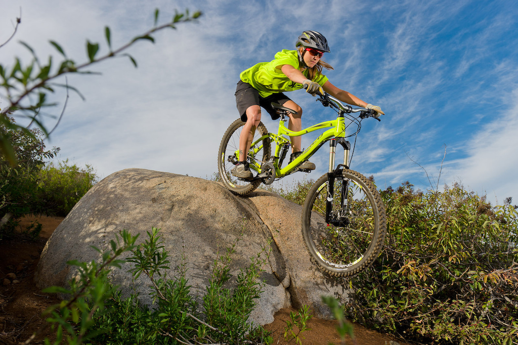 Lindsay Currier rides a Norco Range during the Pinkbike All Mountain Bike Shoot Out