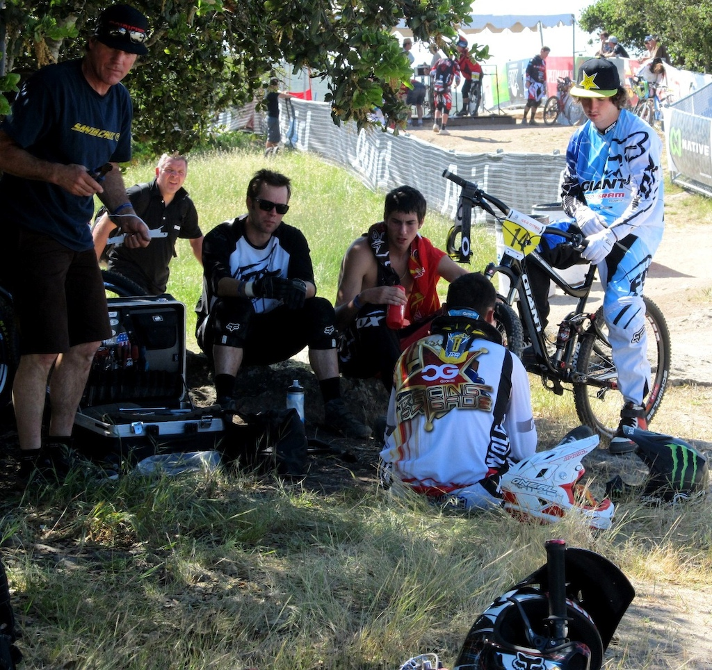 Dual Slalom Gates, relaxing before the race
