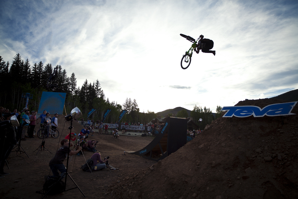 Sam Pilgrim 360 whipping his way to the win at the 2012 Teva Games Slopestyle