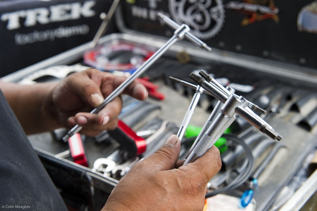Sometimes riders get giddy over new toys... But a mechanic with a new set of wrenches will put any rider with a new whip to shame. Monkey Vasquez was glowing like a new mom over these lovelies...