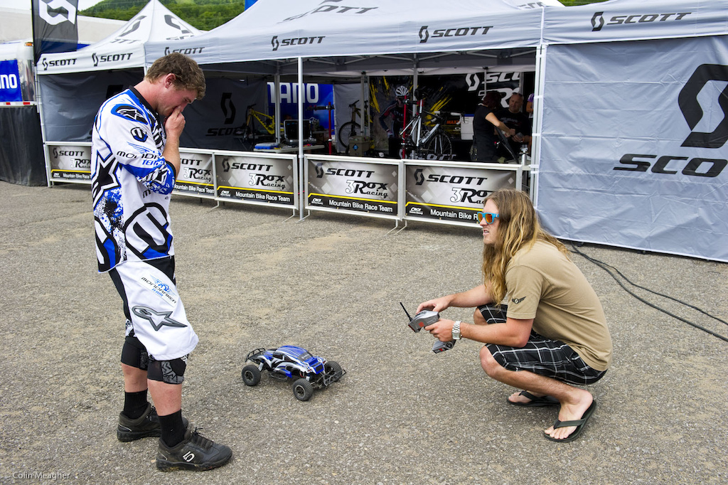 Davis Brody and Brooke MacDonald talkiing over the ever critical pit RC suspension.