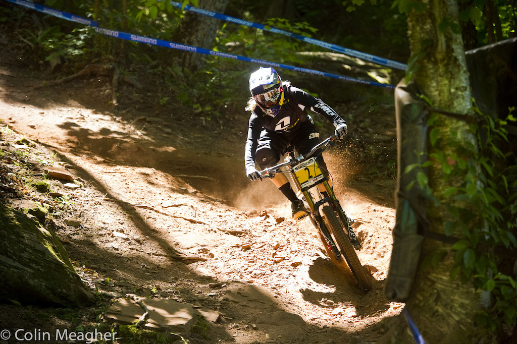 Rachel Atherton finding her groove in the upper section. More than one rider struggled here but Rachel was silent and deadly.
