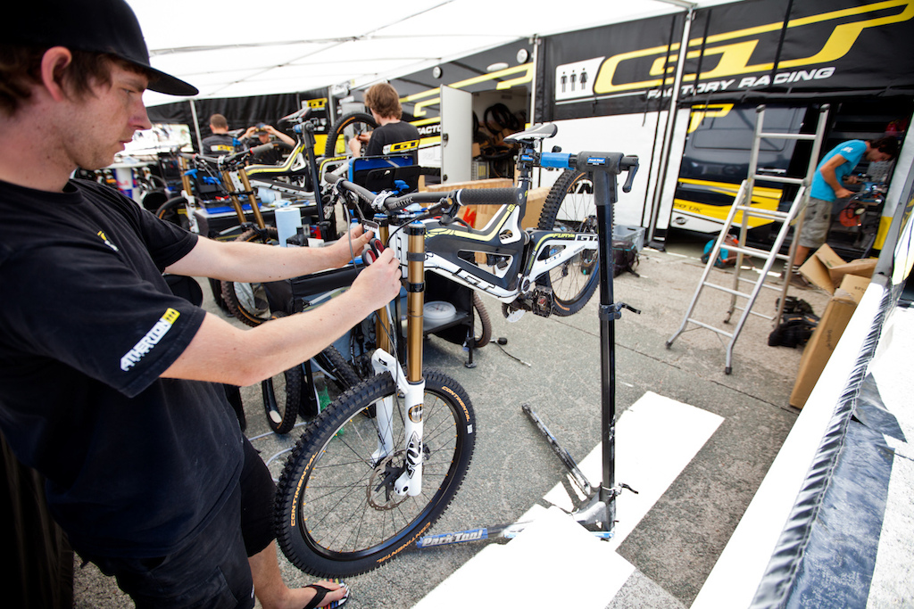 The Atherton racing pits at Crankworx Les deux Alpes in France.