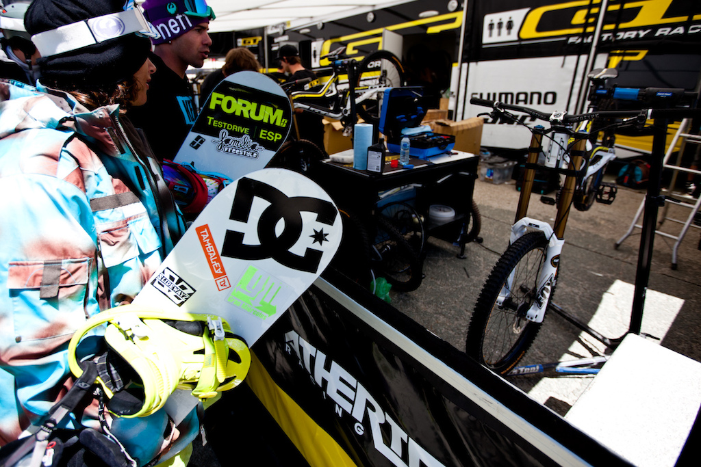 Snowboarders check out the Atherton racing pits at Crankworx Les deux Alpes in France.