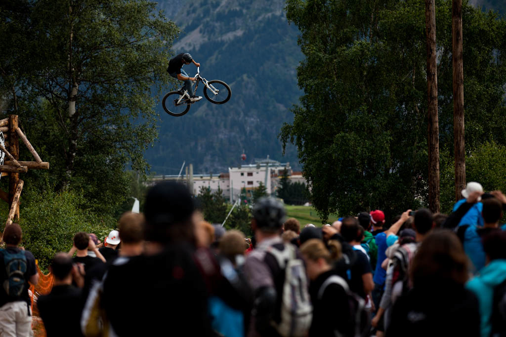 Slopestyle practice at Crankworx Les 2 Alpes