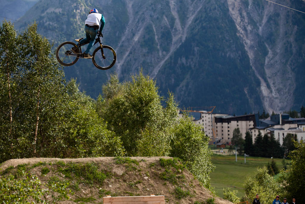 Brandon Semenuk during Slopestyle practice at Crankworx Les 2 Alpes