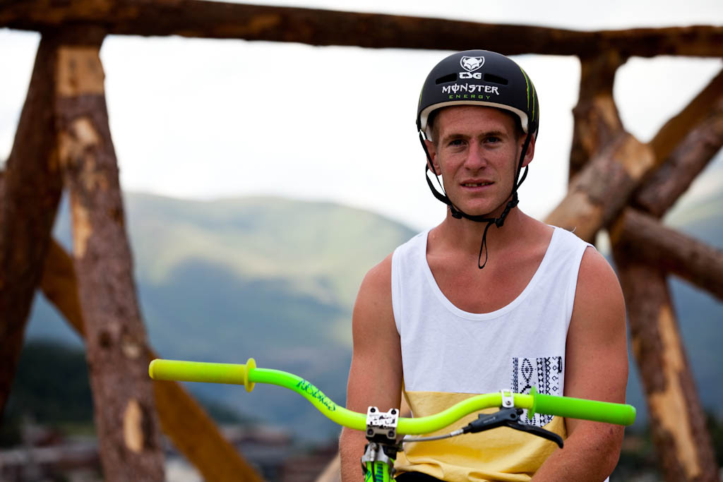 Sam Pilgrim is happy to be here Slopestyle practice at Crankworx Les 2 Alpes