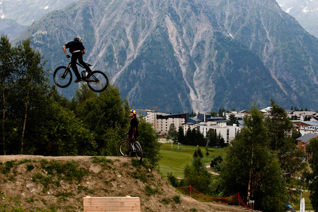 Kurt Sorge whips during Slopestyle practice at Crankworx Les 2 Alpes