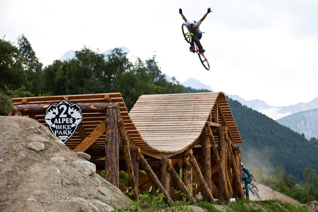 Yannick rules the slopestyle no wonder he built it. Slopestyle practice at Crankworx Les 2 Alpes