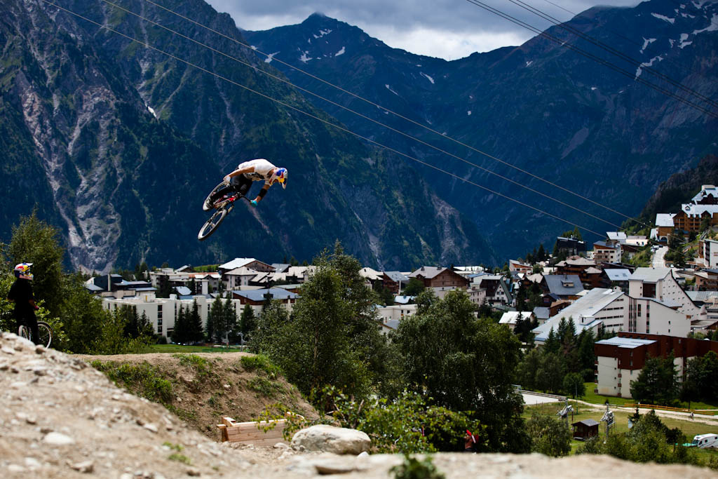 Martin Soderstrom spinning over top of the village