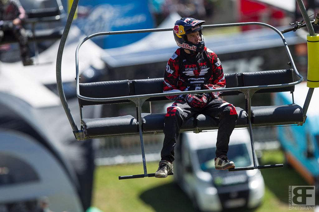 Aaron Gwin had his game face on this morning but was riding with stitches in his hand all day and didn t make the top 3.