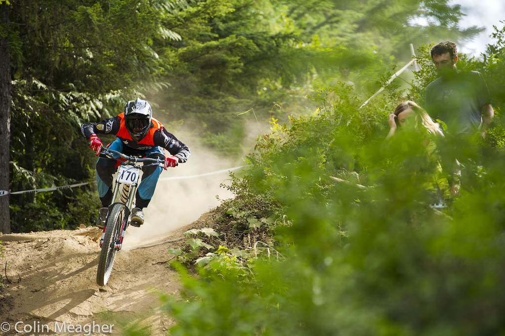 Luca Shaw getting to it during the Pro DH.