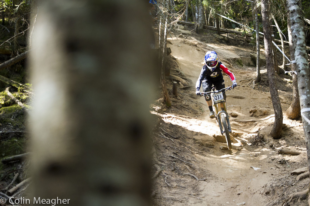 Rachel Atherton has been enjoying her time here in Whistler. She practiced the track but ultimately opted to not race...possibly her shoulder has been bothering her A week s worth of riding will tend to do that to anyone let alone the one Rachel hammered the crap out of when she collided with that car during a training accident three years ago.