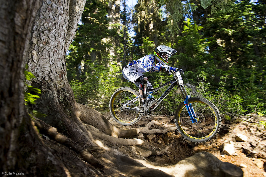 Emmeline Ragot took time to train at Whistler during Crankworx but competed only in the Enduro Open and the Garbanzo DH in order to minimize the risk of aggravating her sore shoulder so close to World Champs and with the World Cup overall still undecided. The pedaling sections at Leogang aren t likely to favor her taking a third World Championship title against a dominant Rachel Atherton but then again the odds weren t in her favor in 09 in Canberra either.