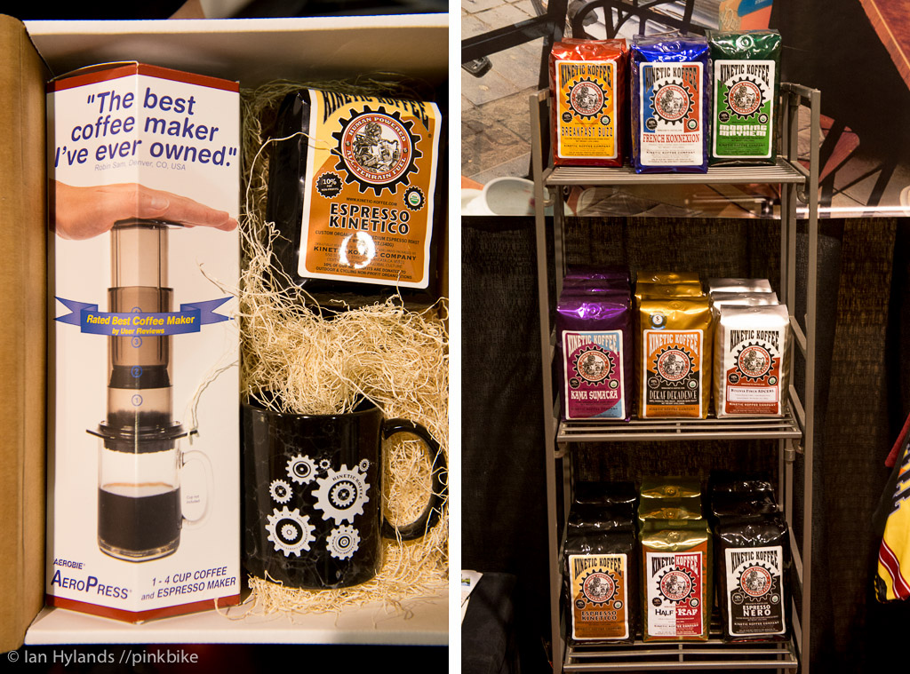 Kinetic Coffee was selling a coffee kit aeropress mug and coffee. Pretty much all you need to get your morning fix and the same set up I use at home.
