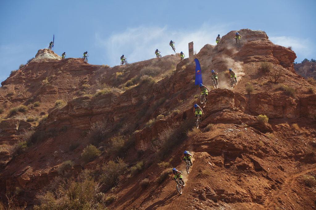 Brendan Howey durning practice at the 2012 Redbull Rampage