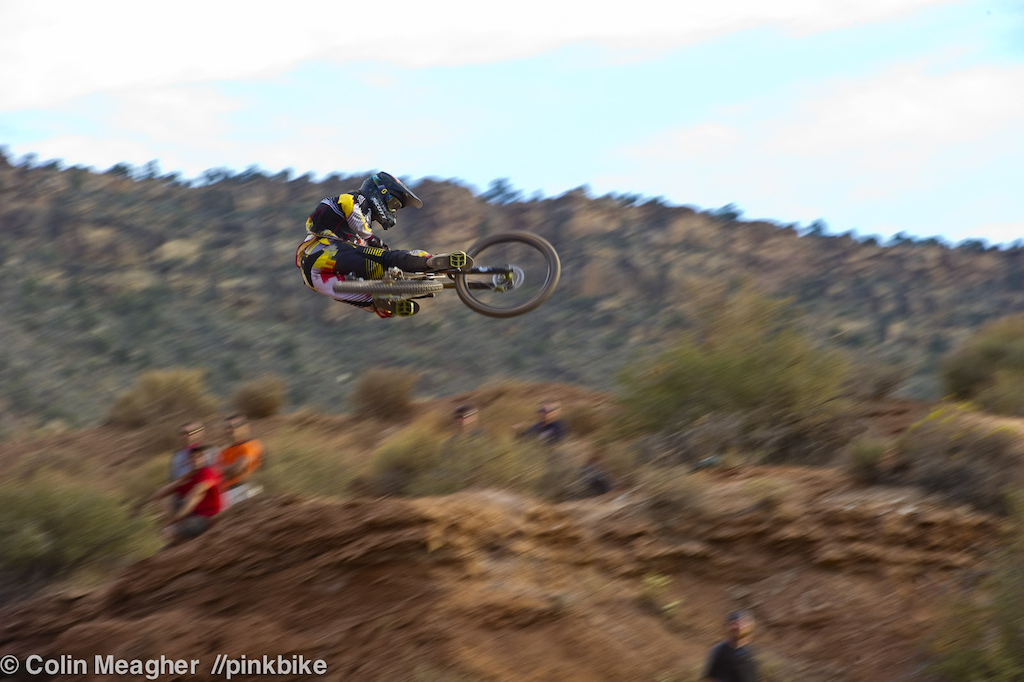 Sideways. Nico Vink may not be a household name for free riding but he s been kicking around the World Cup circuit for a long time. And he can throw down a mean whip. Will that translate into Rampage glory You got me. But he s got a billy goat line up at the top that I want no part of.