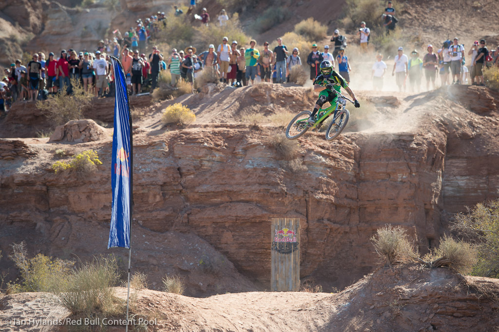 Geoff Gulevich rides in the finals at Red Bull Rampage in Virgin Utah on 7 October 2012