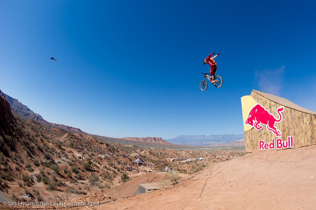 Kyle Strait rides in the finals at Red Bull Rampage in Virgin Utah on 7 October 2012