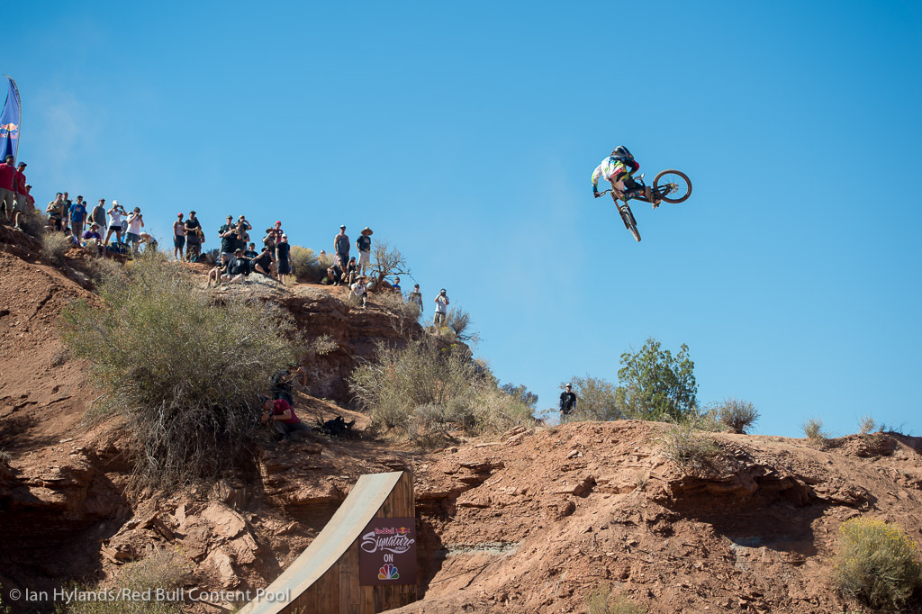 Nico Vink rides in the finals at Red Bull Rampage in Virgin Utah on 7 October 2012