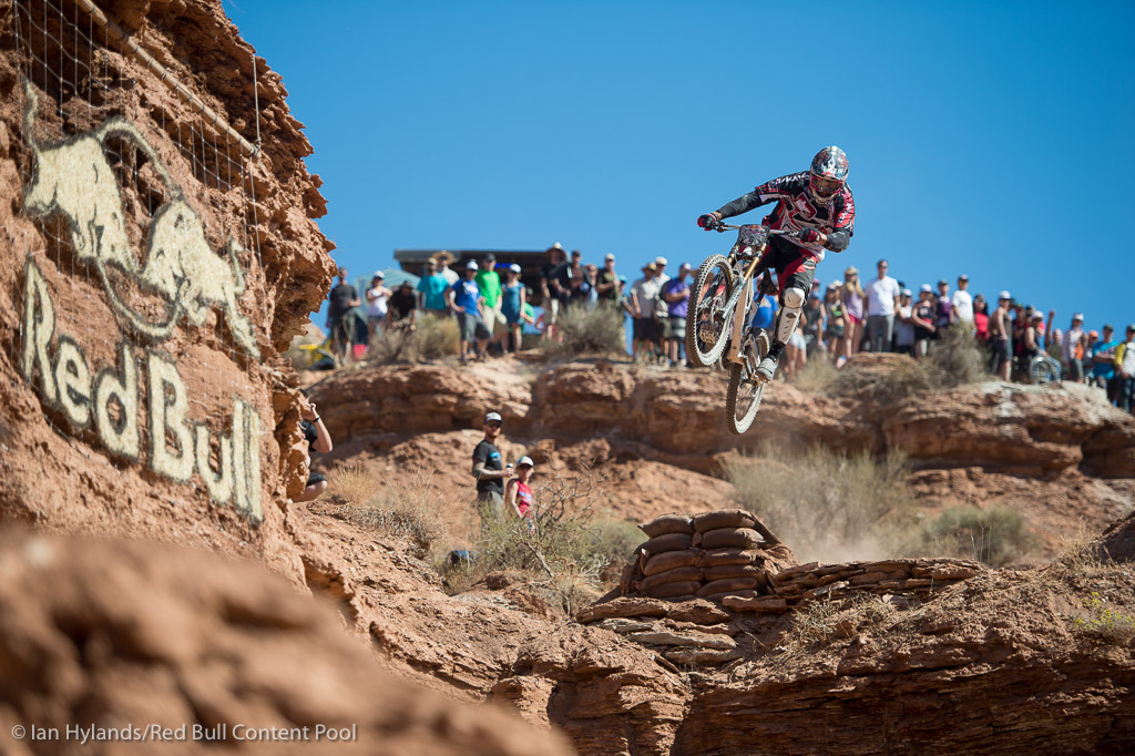 Thomas Vanderham rides in the finals at Red Bull Rampage in Virgin Utah on 7 October 2012