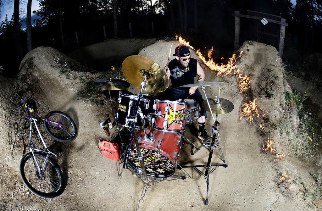 Jordie Lunn doing a not staged drum session at his jump outside his house.