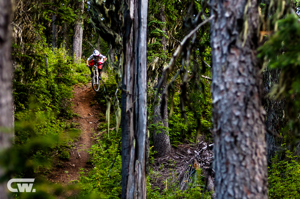Ian Morrison dropping into the forest on the middle section of Powerslave outside Nelson, BC.