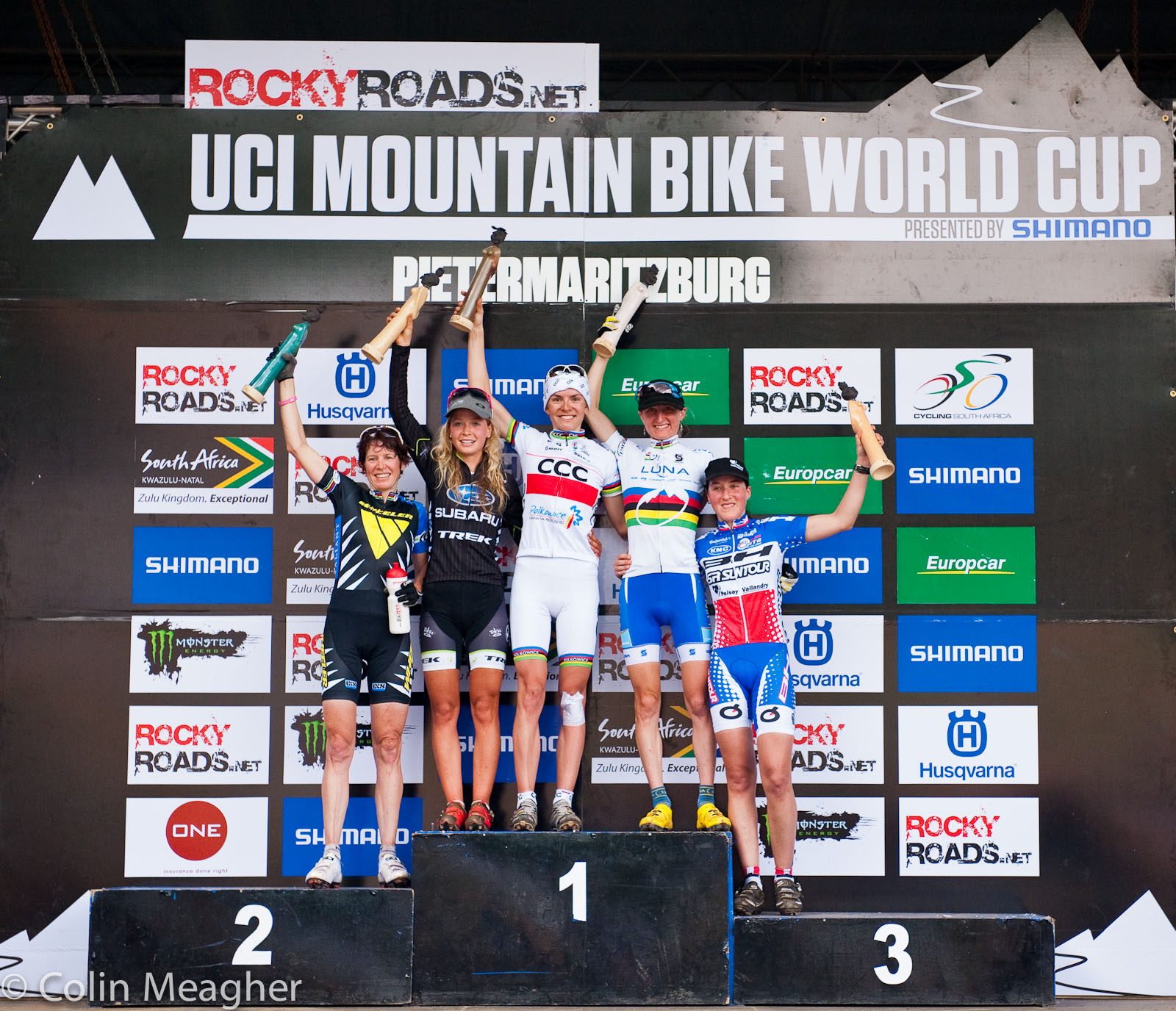 Women's XC Podium at the UCI 2012 MTB World Cup at the Cascades MTB Park in Pietermaritzburg, South Africa.