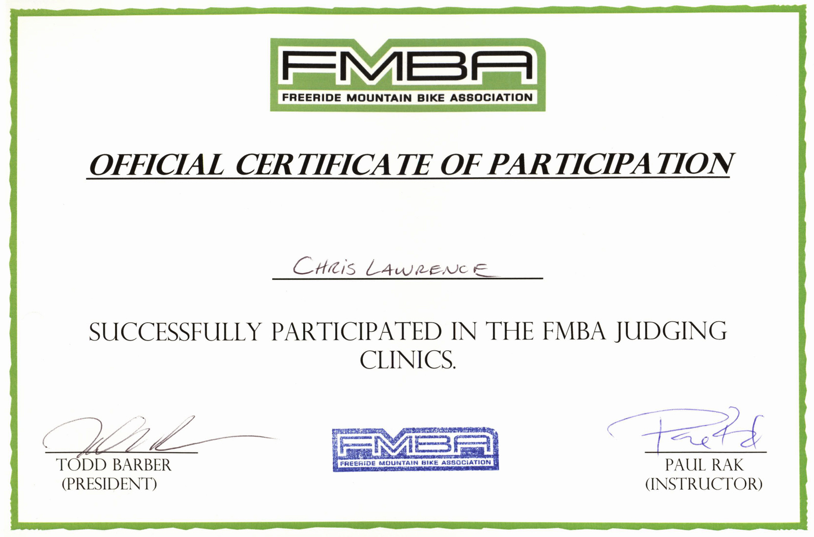 FMBA Judge Certificate