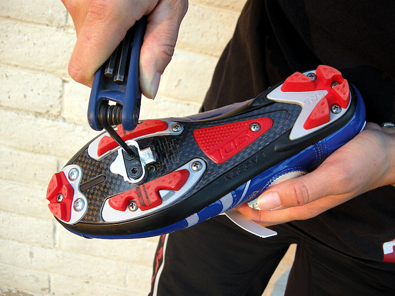 After establishing the distance from the heel to the crank arm remove the shoe and make small angular adjustments to correct any binding in the crank circle.Ride and recheck at all four positions. If all is go tighten the cleats and ride. Remember you ll need to retighten the cleats after your first good ride.